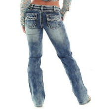 2018 Women Jeans Elastic High Waist Wide Leg Denim Pants Ripped for Loose Trousers Plus Size