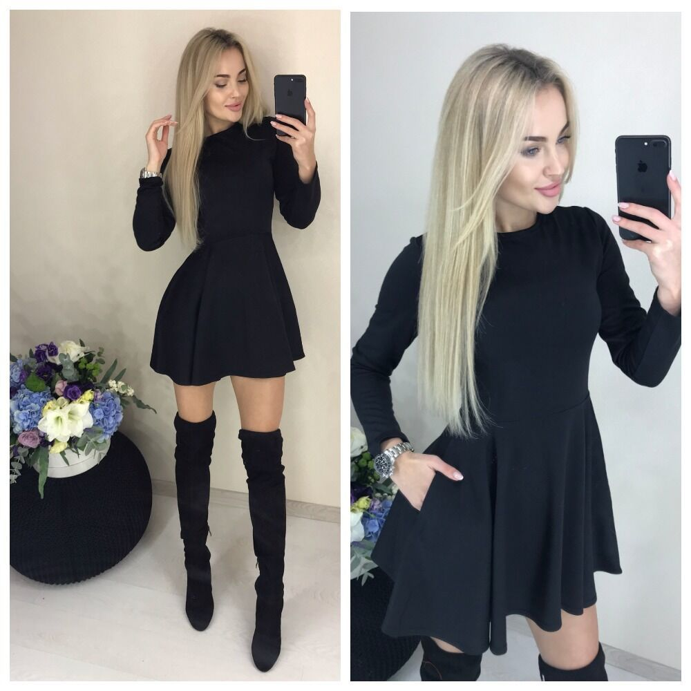 Spring New Casual Women O-neck Fit And Flare Pockets Long Sleeve Mini Cute Party Dress Black Red Wine Red Color Vestidos