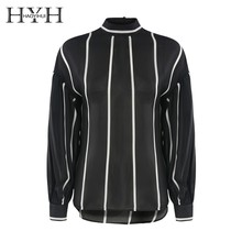 HYH HAOYIHUI 2019 Fashionable Simple Back Long Sleeve Lantern Shirt with a Button Vertical Stripe Perspective