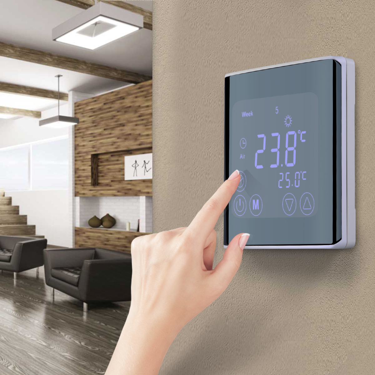 Floureon Smart Wi-Fi Programmable Digital Touch Screen Thermostat C17.GH3 Black