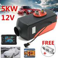 New 12V 5000W LCD Monitor Air diesels Fuel Heater Single Hole 5KW For Trucks Boats Bus Car Heater With Silencer