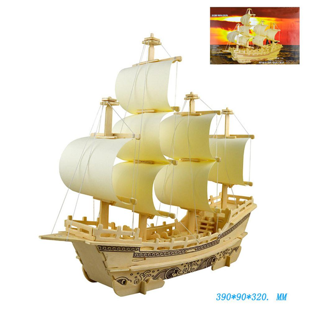Wooden 3D DIY Silk Merchant Ship Model Assembly Simulation Puzzle Jigsaw Toy As Gifts For Kids