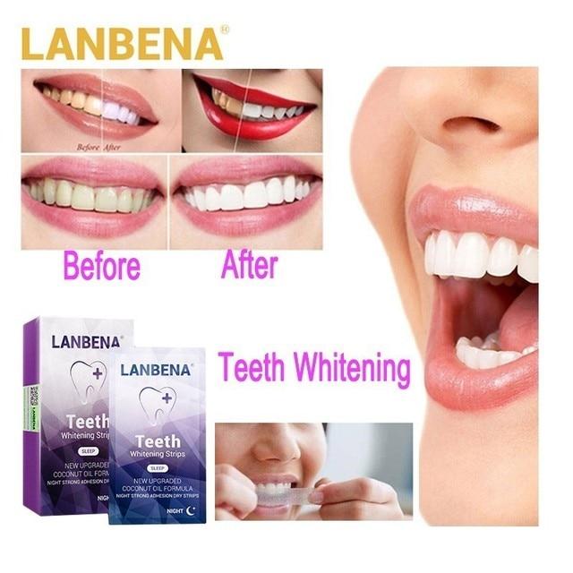 LANBENA las tiras blanqueadoras de dientes por la noche de higiene Oral dientes chapas tiras en blanco elimina la placa Manchas fácil de llevar 7 par/bolsa