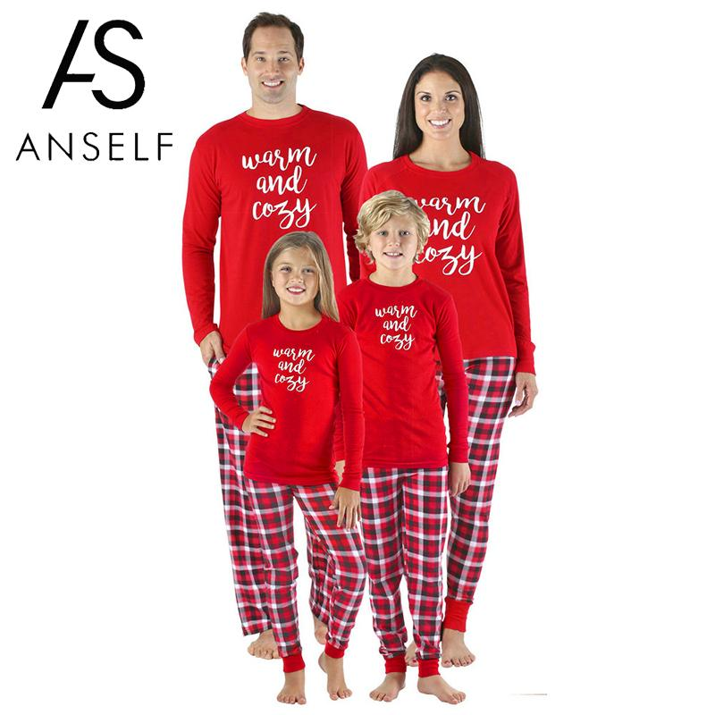 a8a2aef34d Family Christmas Pajamas Sets Letters Print Long Sleeve Top Plaid Pants  Xmas Sleepwear Nightwear Outfits Family