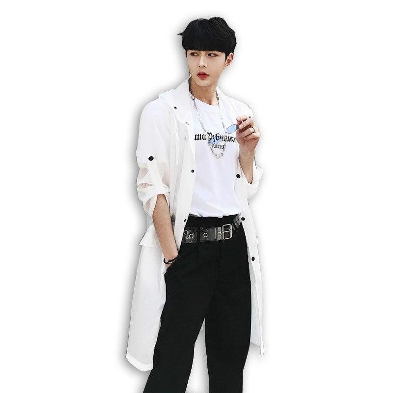 2018 été nouveaux hommes femmes décontracté mince Long manteau homme noir blanc gris à capuche fossé Cardigan veste M-XXL