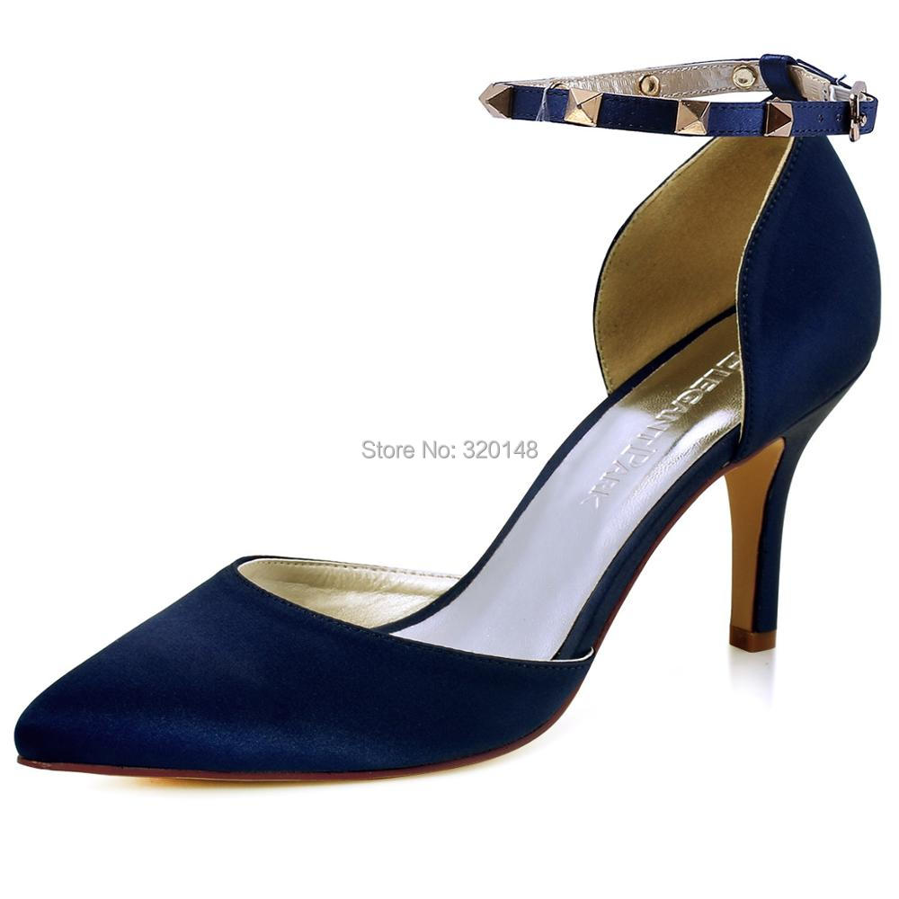 Women pointed toe pumps high heel prom party wedding shoes Satin ankle strap bridesmaids Lady HC1811