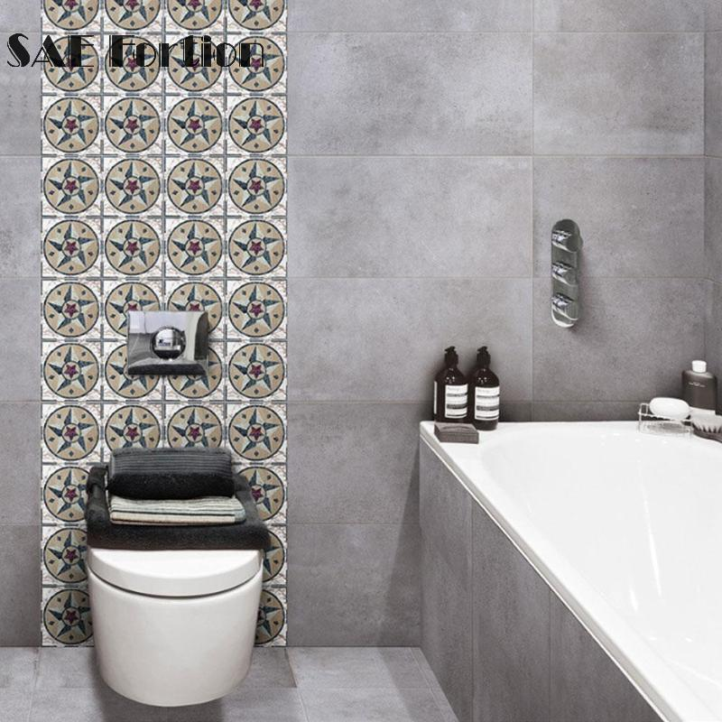 Retro Star Tiles Wall Stickers For Bathroom Kitchen Tile Stickers Decor Adhesive Waterproof Pvc Wall Stickers Kitchen Waist Line Wall Stickers Aliexpress
