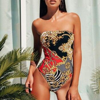 Bañador estampado de una pieza para mujer, bikinis Vintage, Bikini de mujer,...