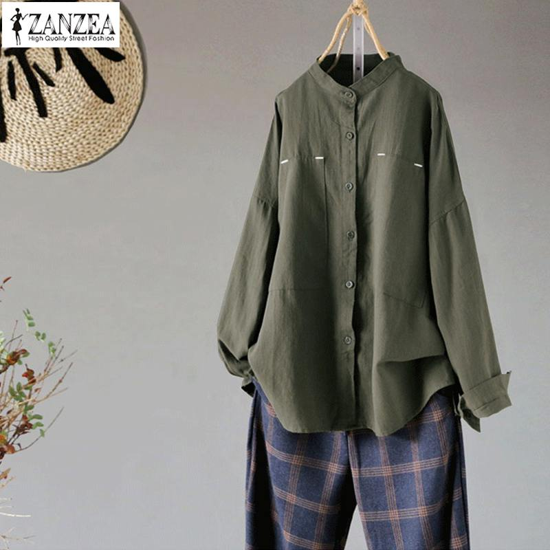 ZANZEA 2019 Spring Button Down Shirts Women Long Sleeve Blouse Female Vintage Linen Tunic Tops Plus Size Elegant OL Work Blusas