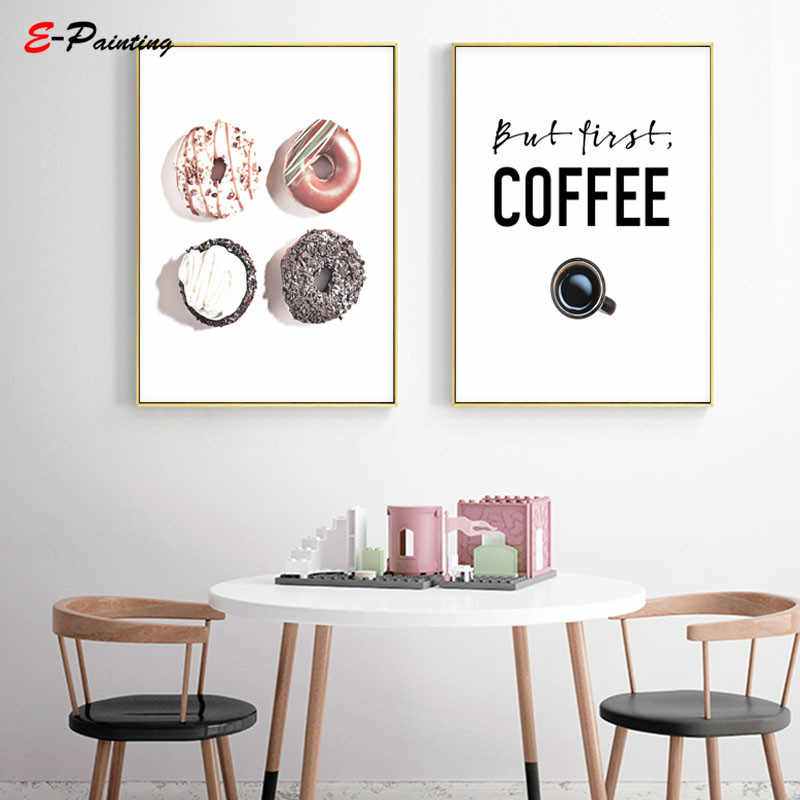 Modern But First Coffee Tea Cake Print Donut Kitchen Wall Art Signs Decor Dessert Canvas Painting Poster Picture