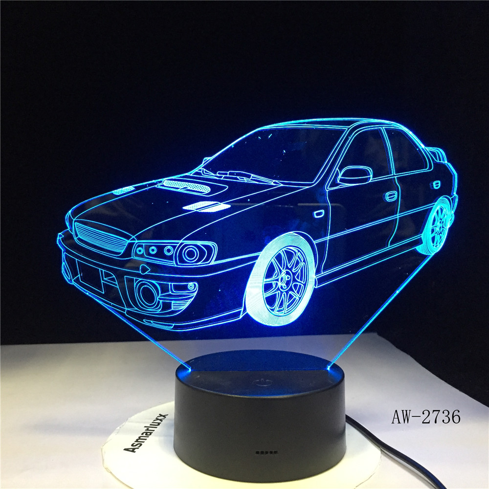 Car 3D NightLight Gradient Jeep Shape USB Bedside Bedroom Table Lamp USB Indoor Decor Atmosphere Lamp Birthday New Gift AW-2736