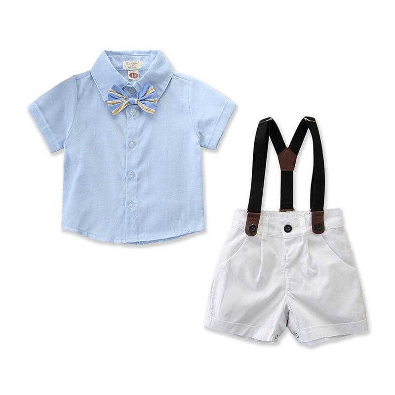 6M-5Y Newborn Kids Baby Boy Gentleman Outfits Cotton Clothes Bow Tie Short Sleeve Shirts Tops Bib Pants Jumpsuit 2Pcs Sets