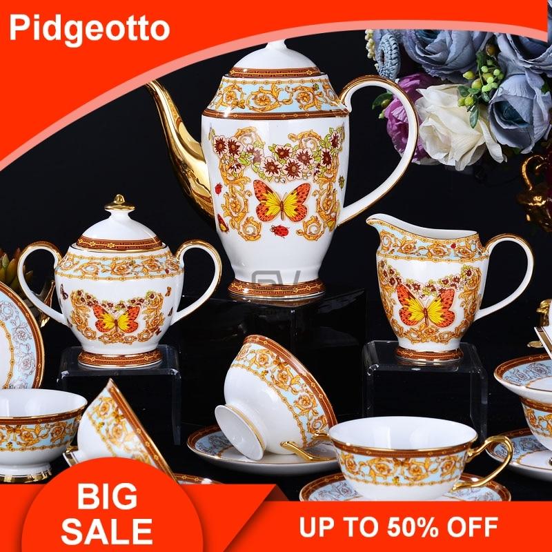 Européenne Papillon Manoir Porcelaine Porcelaine Coffeware Ensembles de Haute Qualité Après-Midi Thé Ensemble Creative Céramique Café Tasse Costume
