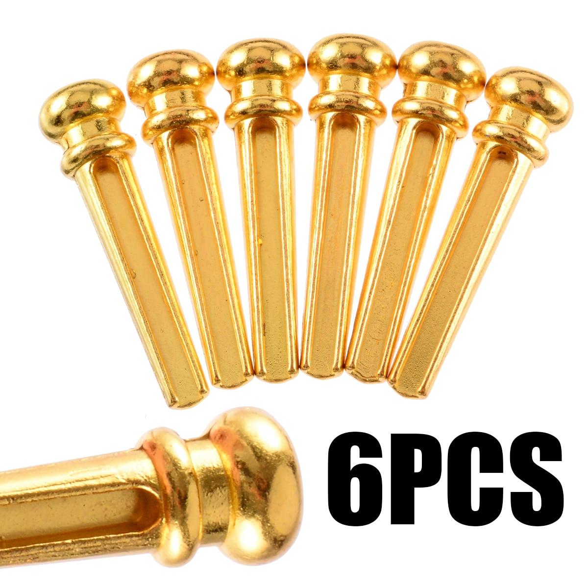 6Pcs Guitar Bridge Pins With Brass String Nails Pin Folk Acoustic Classical Guitar Solid String Bridge Pins
