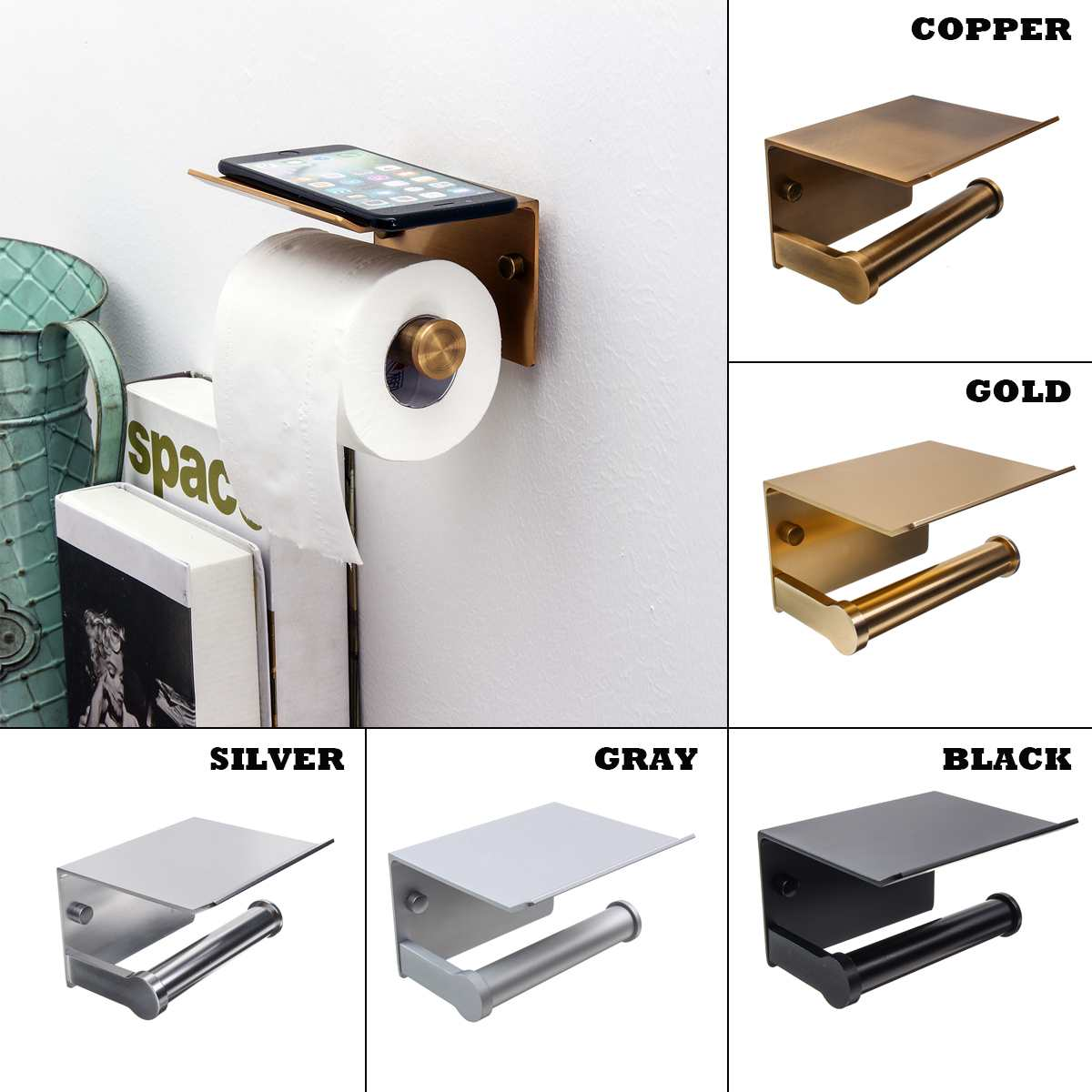 Bathroom Toilet Towel Paper Holder Phone Holder Wall Mount WC Rolhouder Paper Holder With Shelf Towel Rack Tissue Boxes Black