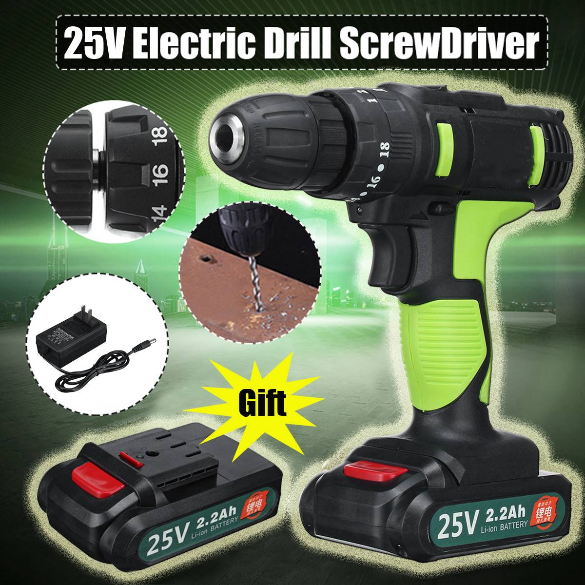 25V Electric Hand Drill Impact Drill Battery Cordless Hammer Drill Electric Screwdriver Home DIY Power Tools+ 2 Li-ion Battery цены