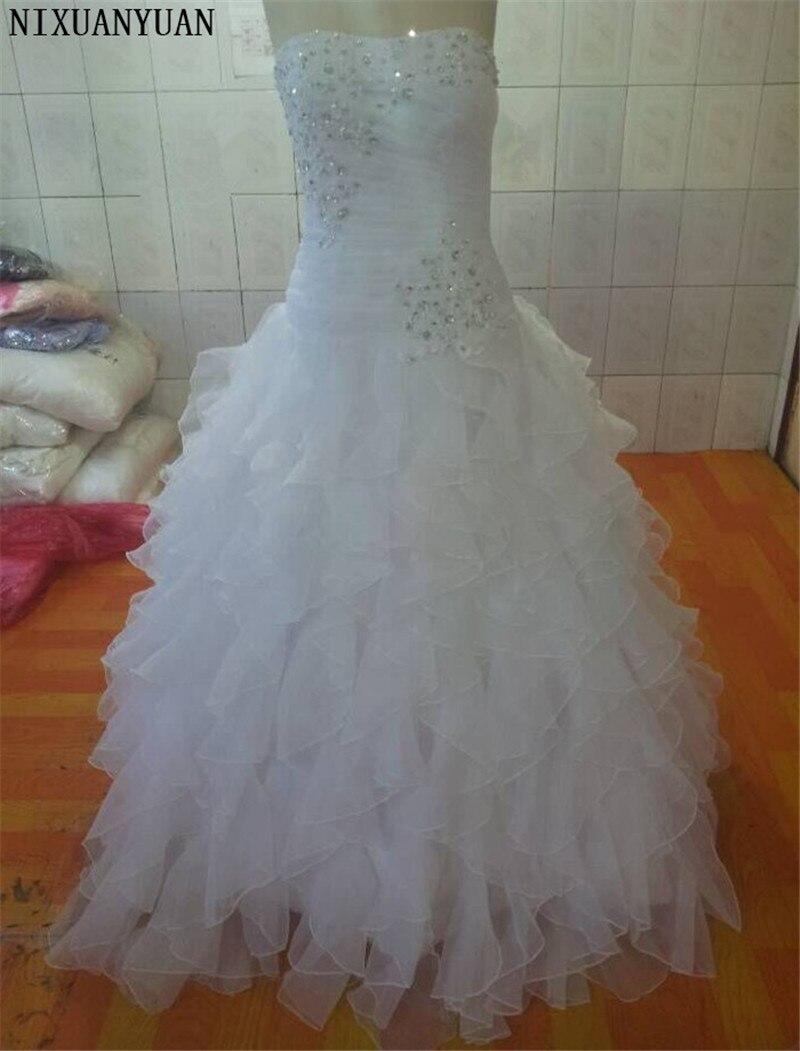 2019 Stock nouveau Style ivoire/blanc Long Organza perlé sans manches robe de mariée robe de mariée robes de mariée SZ: 2-16 + + + livraison gratuite