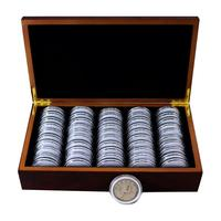 50 Grids Coin Storage Boxes Round Coin Storage Wooden Box Commemorative Coin Collection Box Organizer
