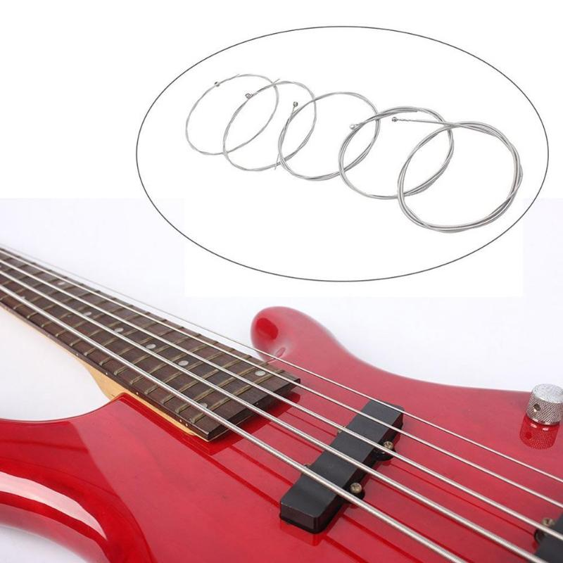 1 Set Of 5 Pcs Steel Strings For 5 String Bass Guitar Diameter 0.12 Inch-0.04 Inch Musical Instrument Guitar Parts Accessories