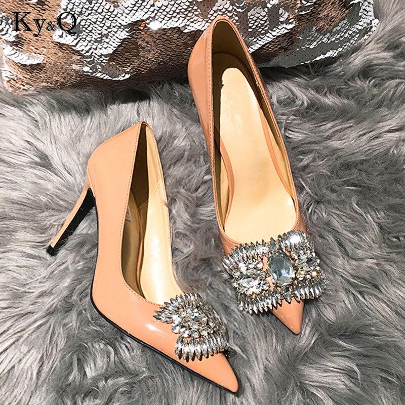 2018 mode chaussures en cristal femme pompes de fête de mariage bout pointu Sexy nu Stiletto strass mode dames chaussures à talons hauts