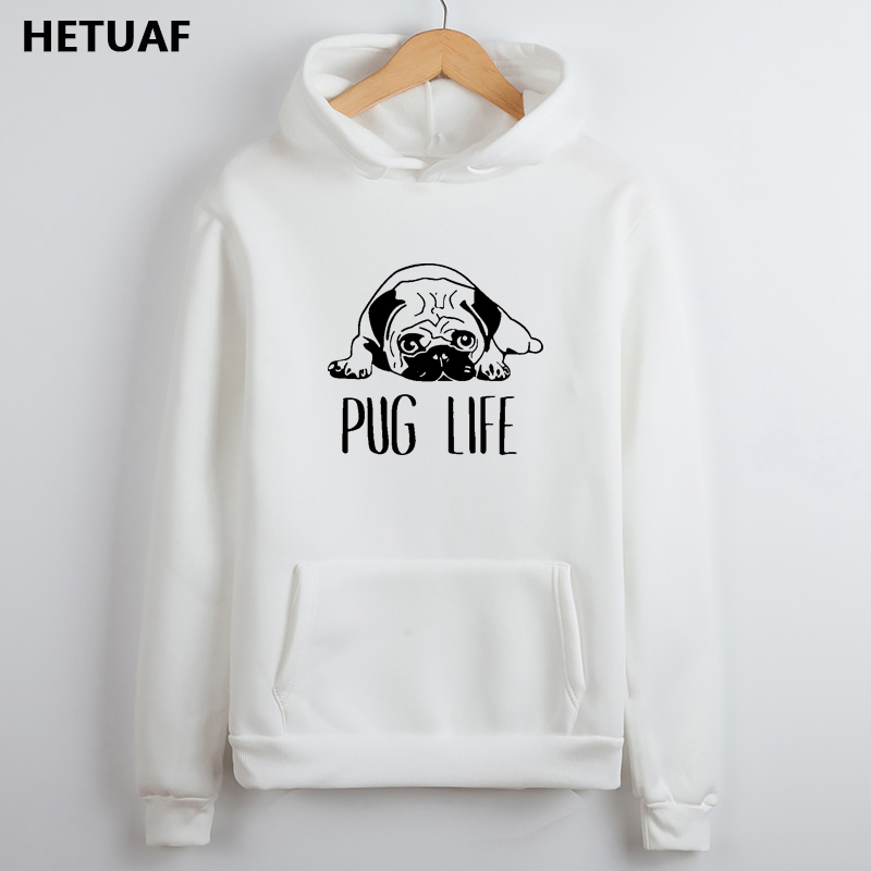 HETUAF Pug Life Funny Sweatshirt Women Hoodies Kawaii Dog Graphic Womens Hoodies Pullove Casual Long Sleeve Print Sudadera Mujer