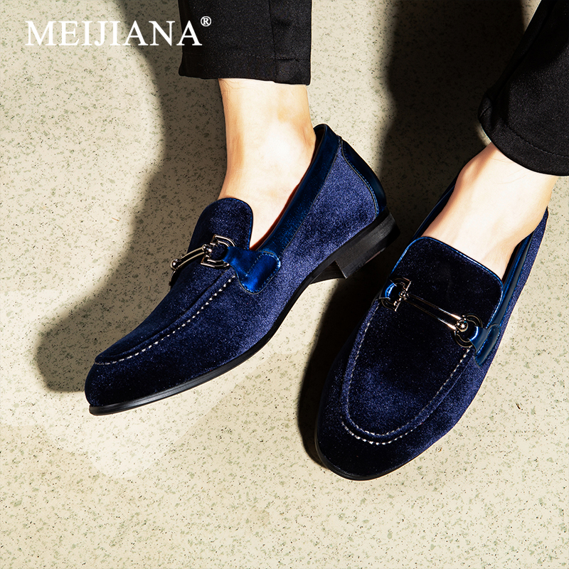 MEIJIANA Men s Dress Shoes Leather Casual Shoes Slip on Moccasins Wedding Shoes Men Loafers Black