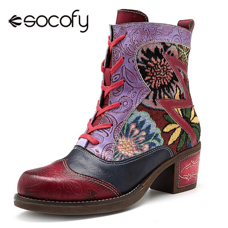 Socofy mode Vintage Cowgirl bottes femmes chaussures femme en cuir véritable chevalier bottines Chunky bloc talon Western bottines Bota-in Bottines from Chaussures    1