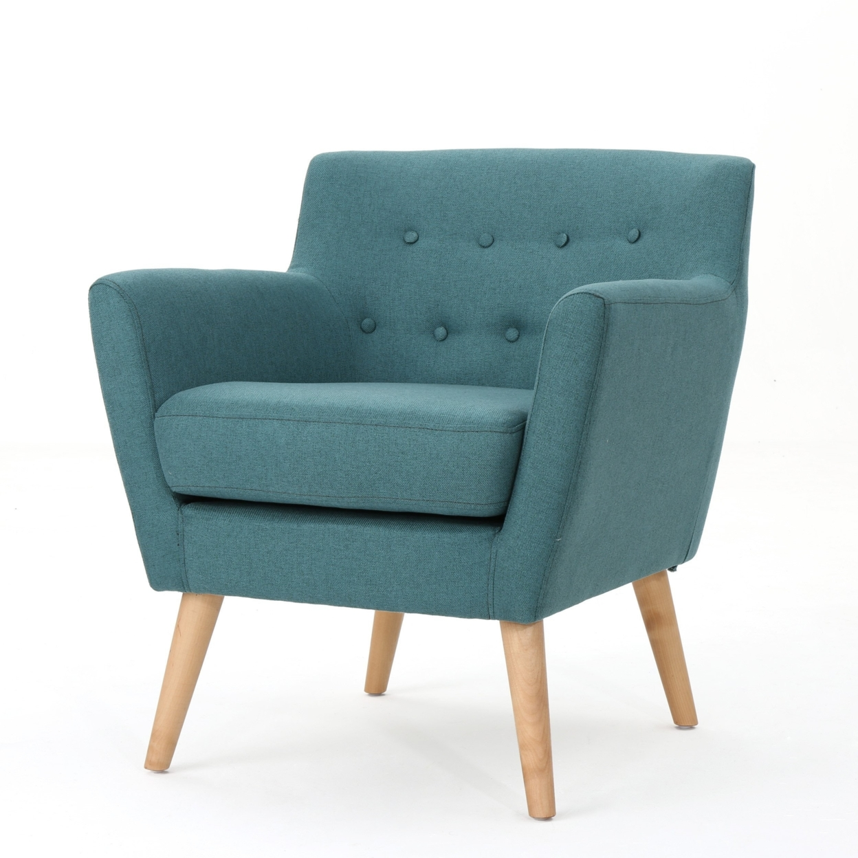 Madeira Buttoned Mid Century Modern Dark Teal Fabric Club