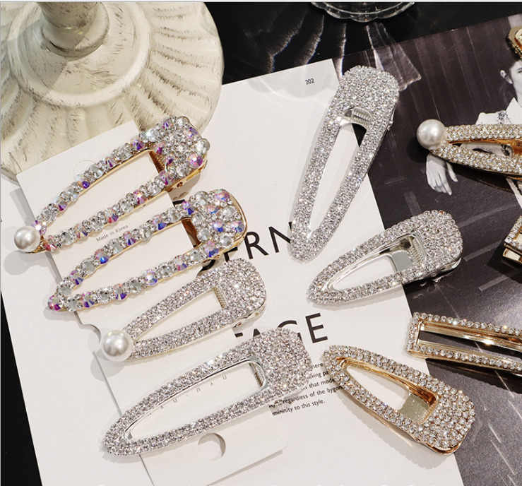 Fashion Shiny Luxury Full Crystal Pearl Women Barrettes Waterdrop Square Hair Clip Hairgrips Hair Accessories Korea Headwear