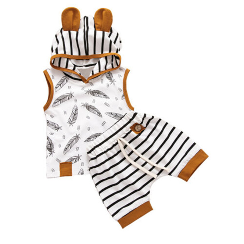 0-24 Months Baby Clothes Set Sleeveless Sweatshirt For Girls Leaves Print Hoodies Boys Striped Pants Newborn Toddler Baby Set
