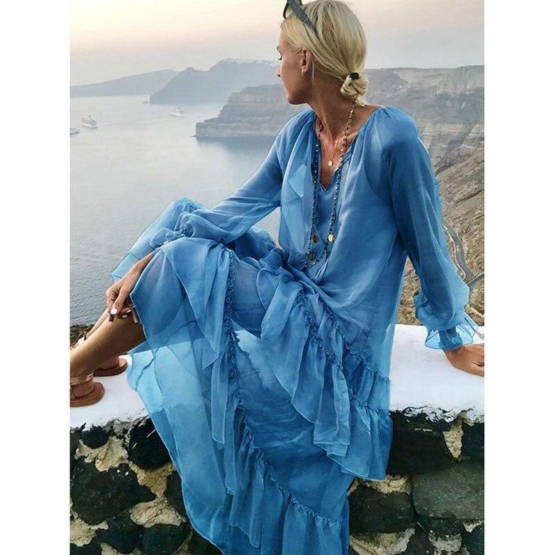Blue Maxi Beach Dress Summer 2019 Women Plus Size Boho Dress Ruffles Ladies Long Sleeve Loose Holiday Long Sundress For Women in Dresses from Women 39 s Clothing