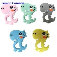 Lemon Comeon Dinosaur Baby Teether Food Grade Silicone Pendant Teething Beads Newborn Cartoon Nursing Chew Toy