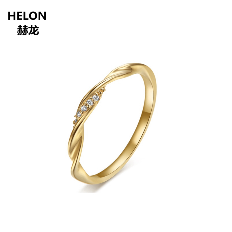 Solide 14 k Jaune Or SI/H Naturel Diamants Mariage De Fiançailles Bague Anniversaire Femmes Partie Fine Jewelry