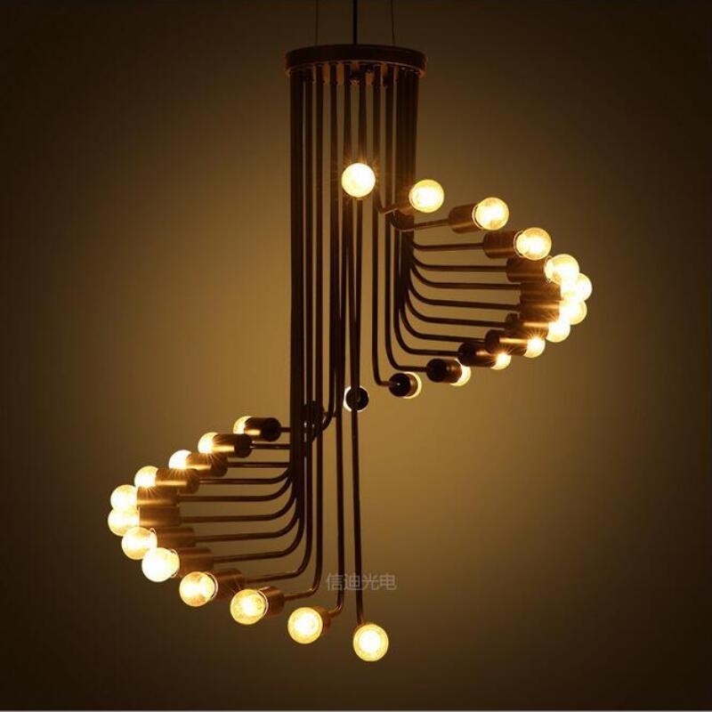Simple rétro rotatif escalier pendentif lumières lampes Led E27 Loft créatif Bar pendentif lampes Led Lustre lumière suspension Z20
