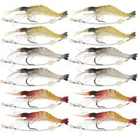 Shrimp Fishing Worm Soft Lure Shrimp Worm Lure 6g 9cm 12 Pieces Fishing Lures     -