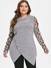 36cd1a199871 Wipalo Plus Size 5XL-L Asymmetrical Sexy Mesh Lace Knitted Sweater Women  Oversized Jumper Tunic