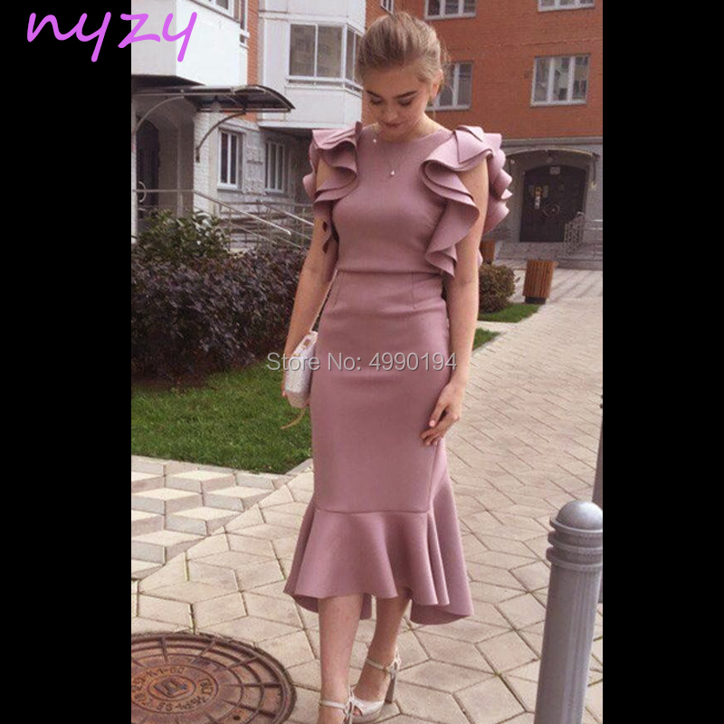 NYZY C67 Vestido Robe Cocktail Dresses Pink Cap Sleeves Tea Length Ruffles Mermaid Party Dress Robe De Soiree Courte 2019