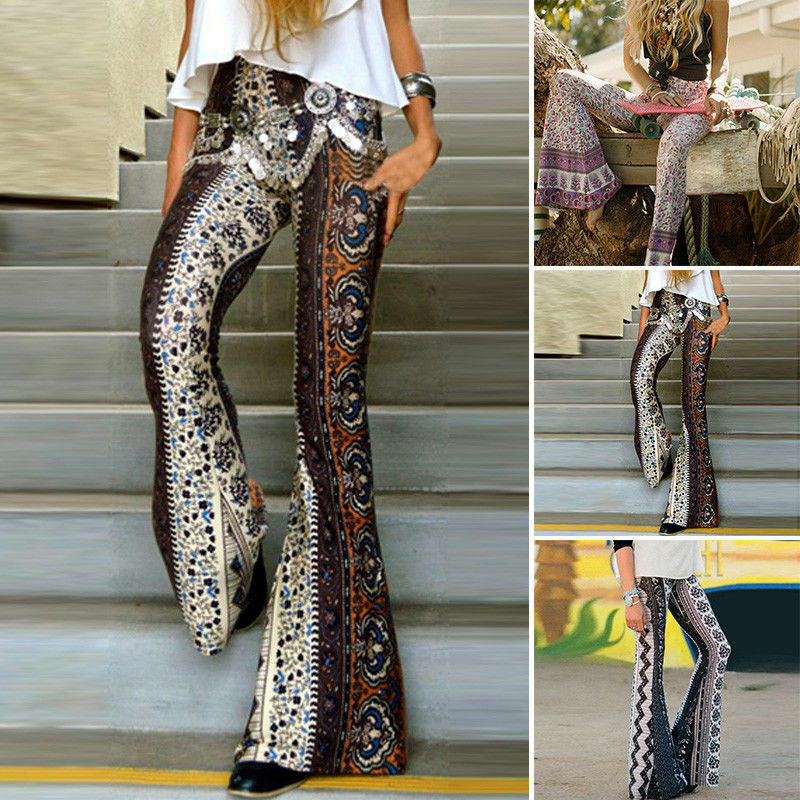 Women Long   Pants   Boho Hippie High Waist Loose   Wide     Leg   Flared Bell Bottom Flroal Long   Pant