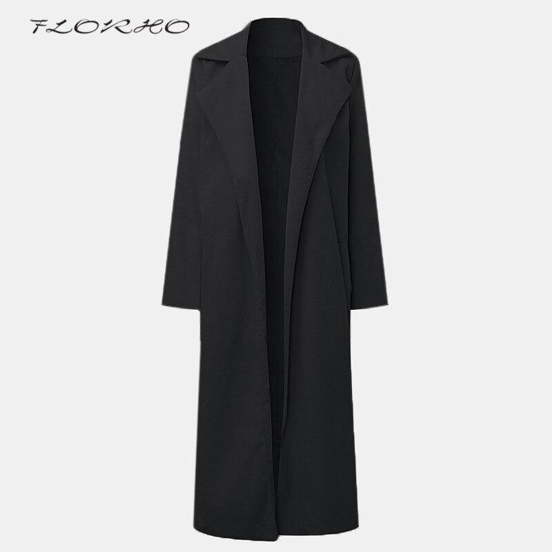 Classic Khaki Womens Overcoats   Trench   Office Lady Coats Long Wool Windbreak   Trench   Coat Outwear 5XL Brand Winter Clothing Femini