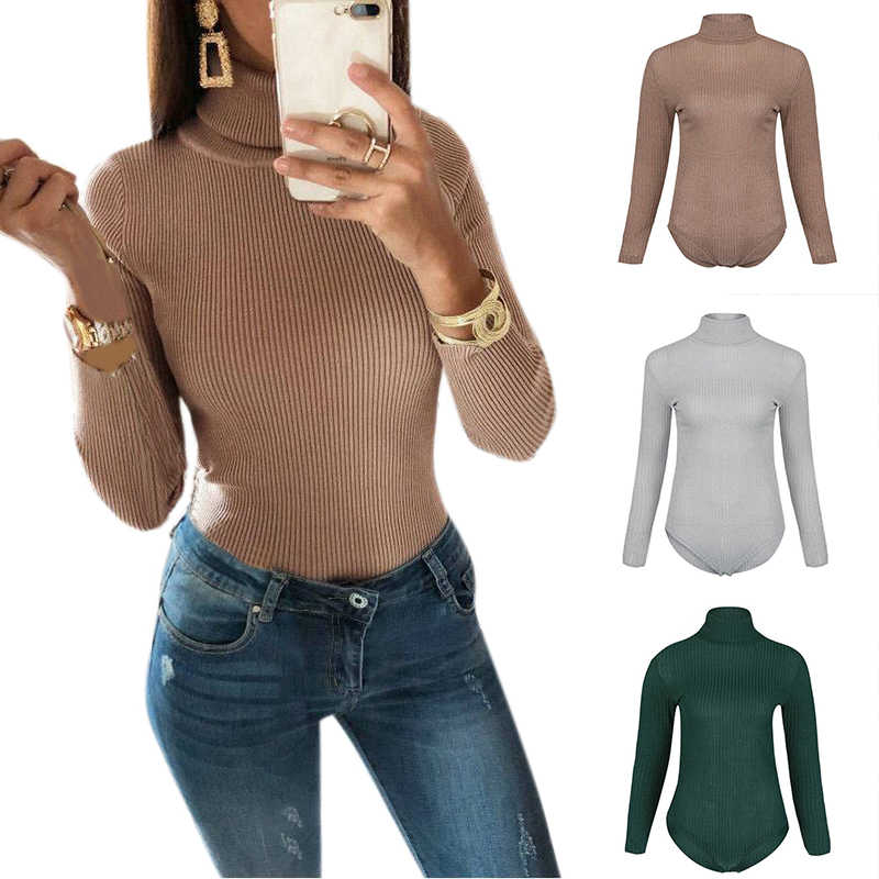 Detail Feedback Questions about Slim Knitted Bodysuits Women Long Sleeve  Turtleneck Jumper Tops Female Sexy Skinny Body Suits Lady Green Gray Khaki  Thin ... eb69a6d85