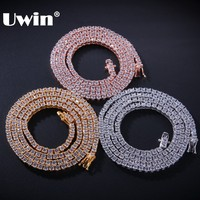 UWIN Authentic 100% 925 Sterling Silver Exquisite Women Men 3mm CZ Necklace Luxury Sterling Silver Tennis Chains Gift