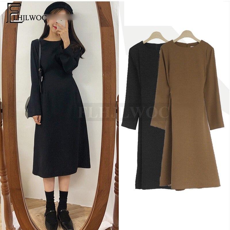 A Line Dresses Hot Sales Women Winter Basic Black Dress Preppy Style Korean Temperament Lady Bow Tie Cute Vintage Dress 2011