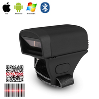 Pequeno design portátil dedo anel scanner android windows ios conexão 1d 2d scanner de código de barras bilhetes estacionamento armazém scanner