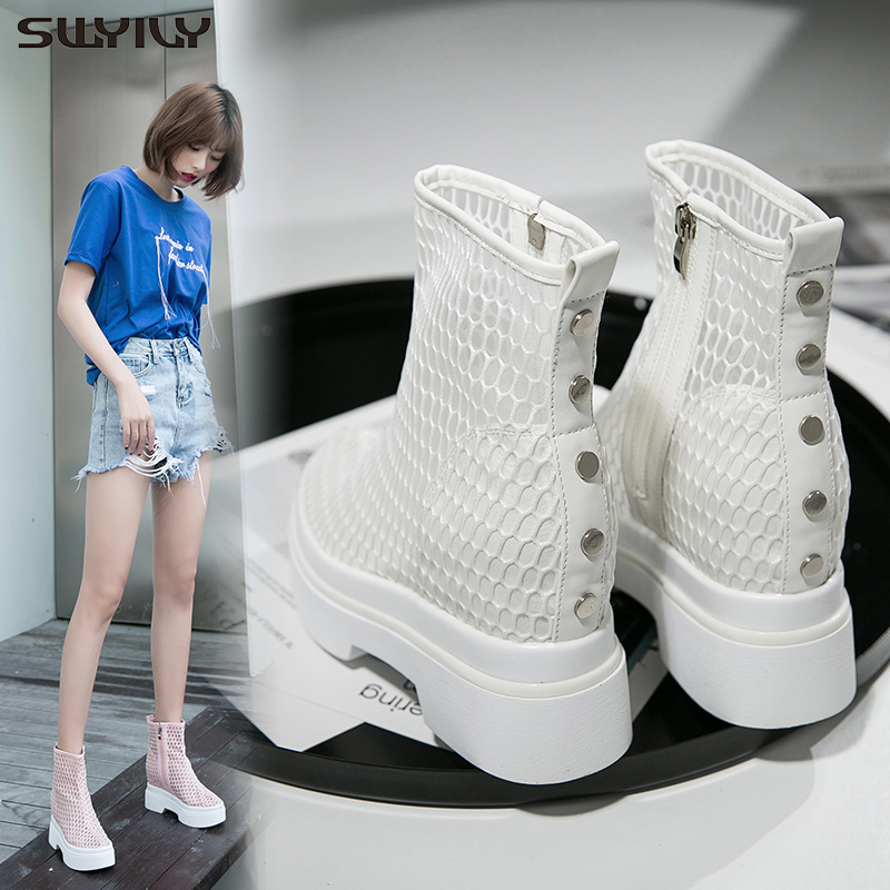 SWYIVY Summer Shoe Woman 2019 Lady Casual White Sneakers Wedge Shoes High Heel Thick bottom Mesh