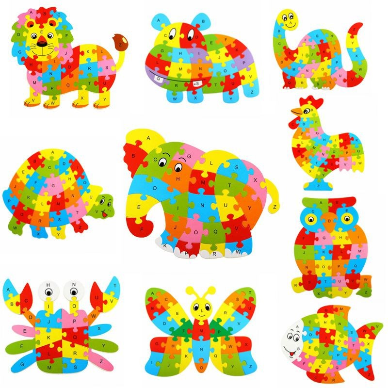 26 Patterns Wooden Animal Alphabet Early Learning Puzzle Jigsaw For Kids Baby Educational Learing Intelligent Toys  YJS