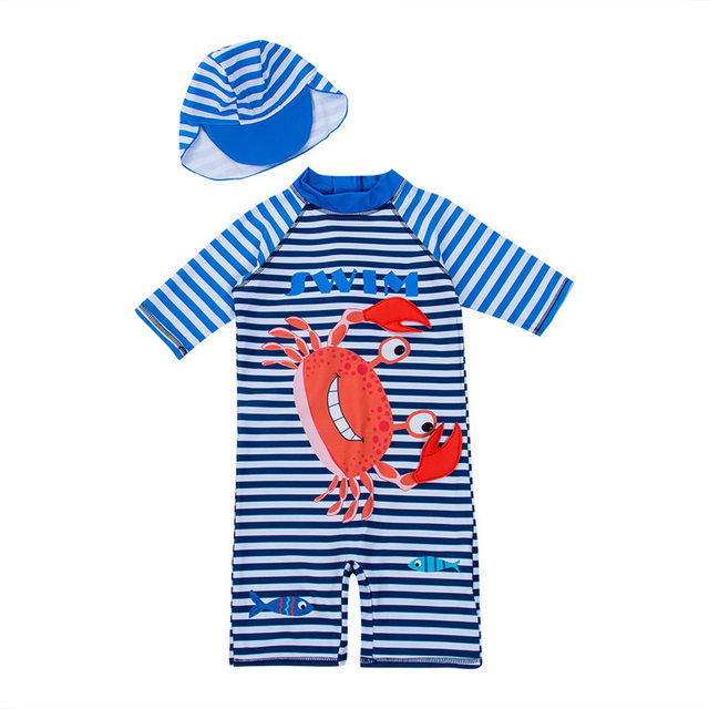 318cbc6dc0f0f Kid Baby Girls Boys Striped Crab One-piece Romper Swimsuit Babies Cartoon  Printed Hat Swimwear Outfits Bathing Suit Summer 1-6T