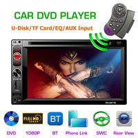 2 DIN 6.2 DC12V Full HD 1080P Car Multimedia CD DVD Player Steering Wheel Control FM Radio Bluetooth Mirror Link Remote Control