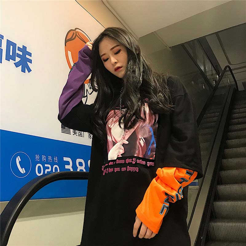 NiceMix Autumn Harajuku Sweatshirt Women Unisex Jumper Oversize Chinese Cartoon Pullovers Woman Clothes Sudadera Mujer 2019 in Hoodies amp Sweatshirts from Women 39 s Clothing