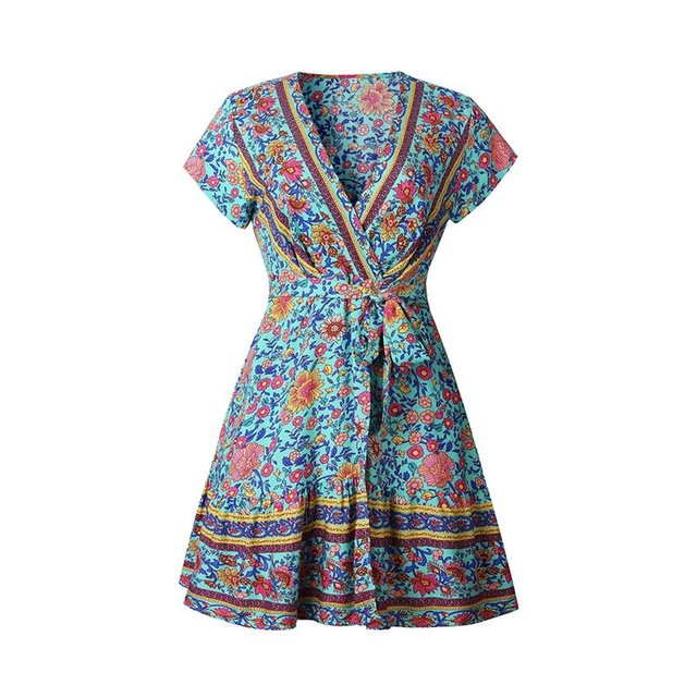 Sexy Beach Dress Women Summer Boho Chic Floral Print Sweet Belt Casual Holiday Pleated Fashion Ladies Elegant White Wrap Dresses