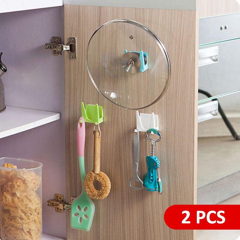 2 Pcs Wall-mounted Cutting Board Shelf Pot Lids Holder Pan Cover Spatula Ladle Storage Rack Multifunction Kitchen Organizer